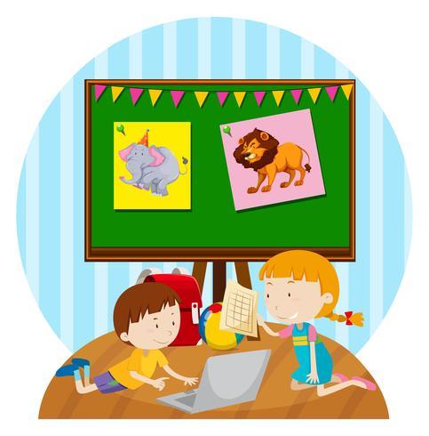 Due bambini che studiano in classe