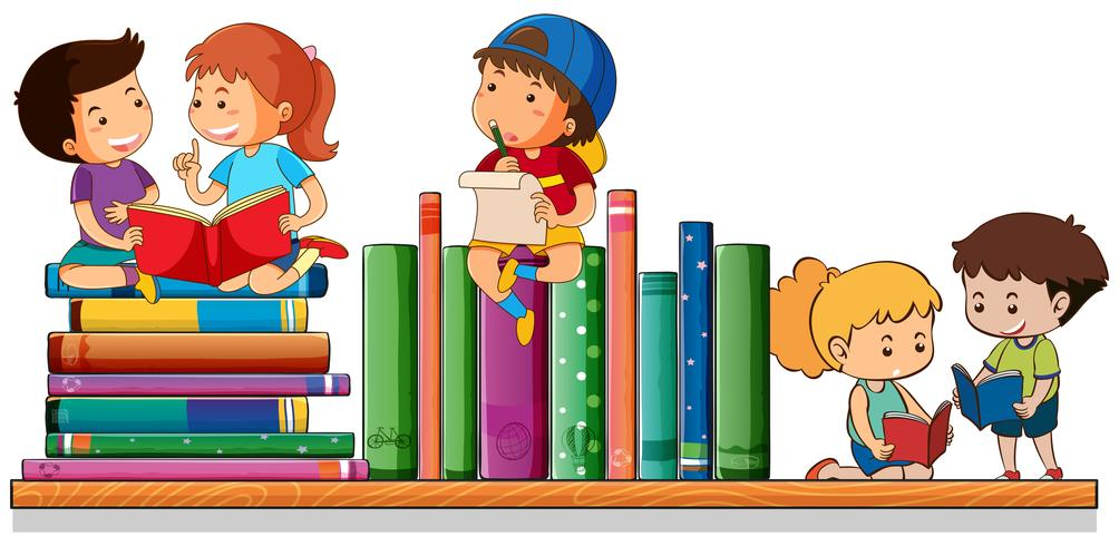 Kids reading and playing with books