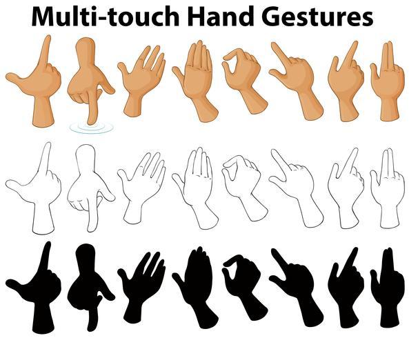 Cuadro que muestra gestos de manos multitáctiles. vector