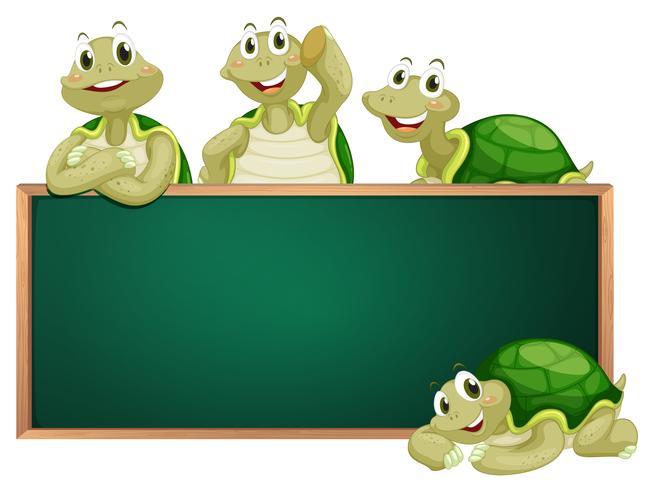 Lavagna con tartarughe sul telaio