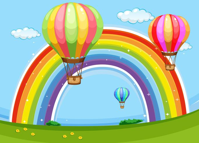 Colorful balloons flying over the rainbow