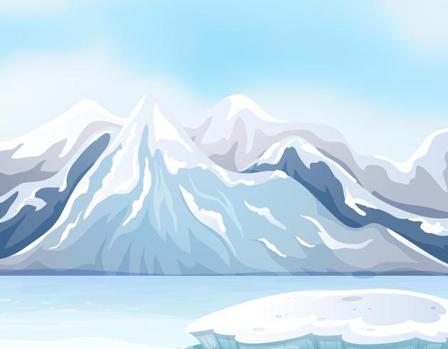 Cena com neve nas grandes montanhas e rio