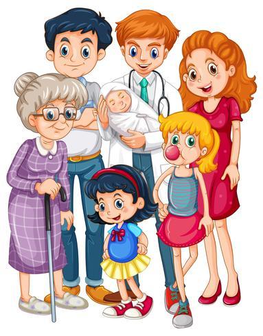 Docteur et beaucoup de patients d'âges différents vecteur