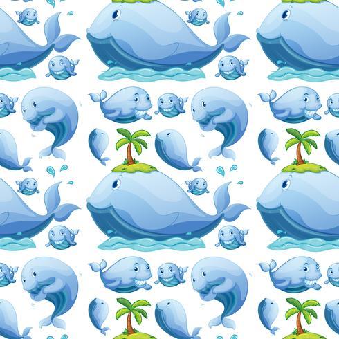 Nettes nahtloses Muster des Wals