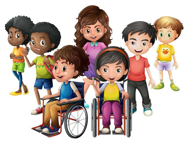 Happy children standing and on wheelchairs vector