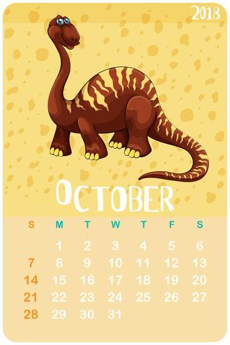 Calendar template with dinosaur for October