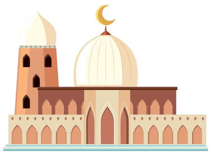 Een mooie witte moskee op witte achtergrond