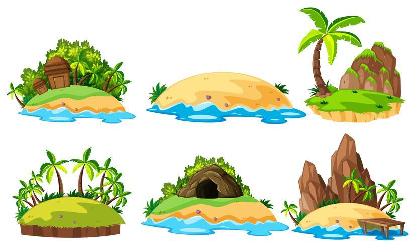 Six vues d'îles sur fond blanc