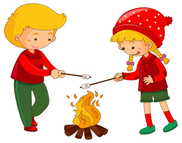 Ragazzo e ragazza con marshmallow