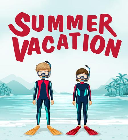 Zomer vakantie thema met duikers