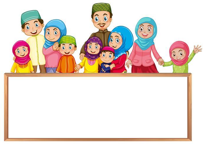 Plantilla de tablero con familia musulmana en ropa colorida
