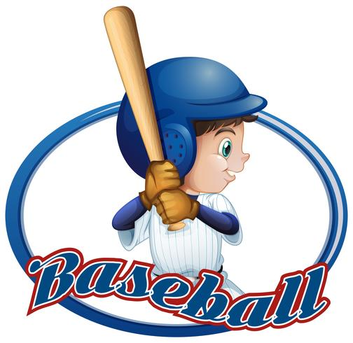 Labelontwerp met honkbalspeler