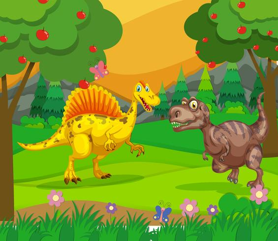 Spinosaurus and T-Rex in the field vector