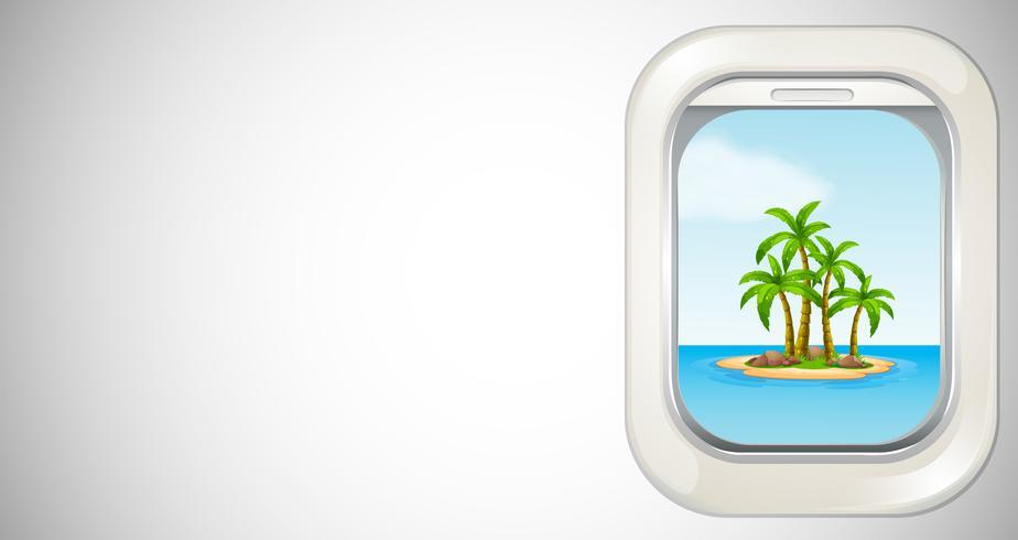Plantilla de fondo con vista de la isla a través de la ventana del avión