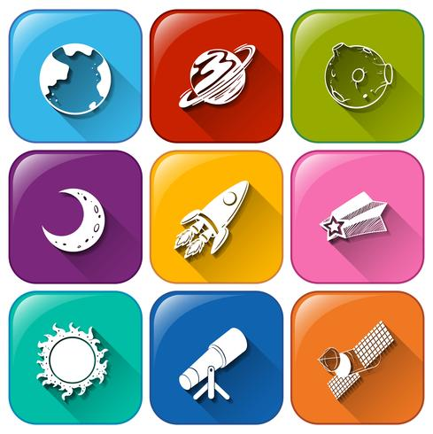 Iconos con objetos encontrados en el espacio exterior.