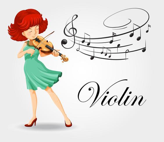 Donna che suona il violino con note musicali