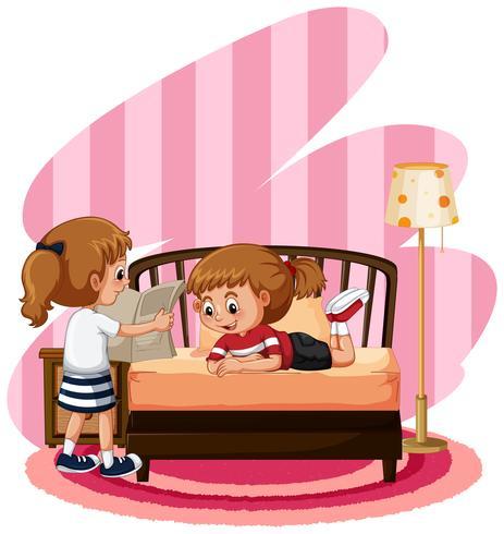 Two cute girls in bedroom