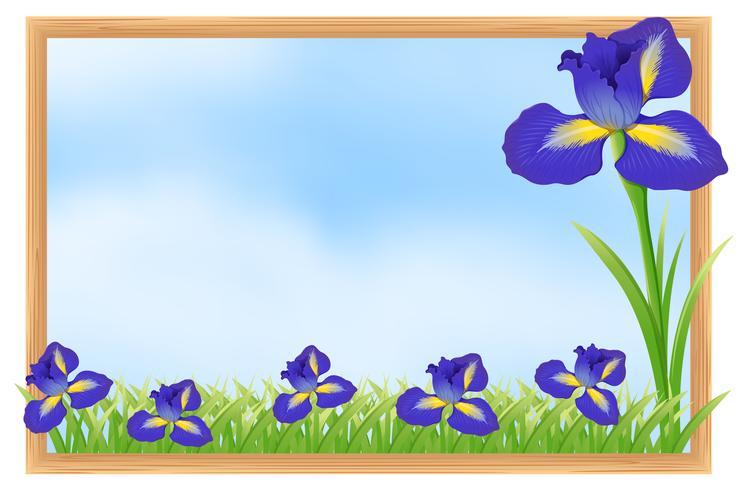 Diseño de marco con flores azules.