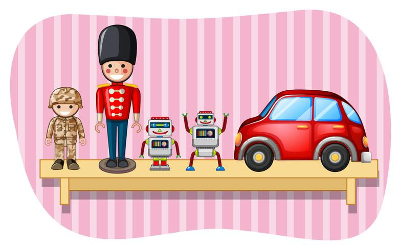 Soldado de juguetes y robots en estantería.