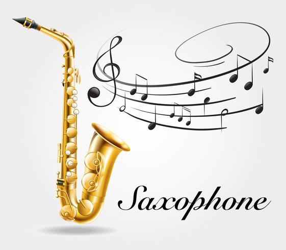 Saxofón y notas musicales en cartel.