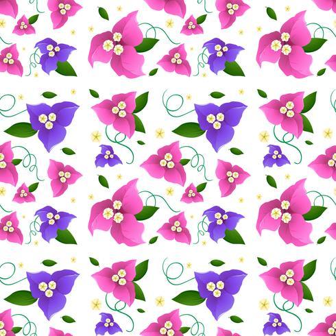 Diseño de fondo sin fisuras con flores de buganvilla