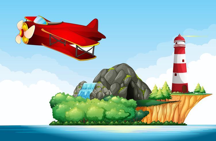 Düsenflugzeug fliegt über den Ozean