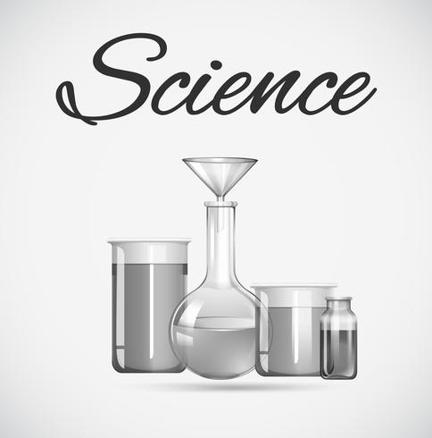 Science beakers with chemical inside vector