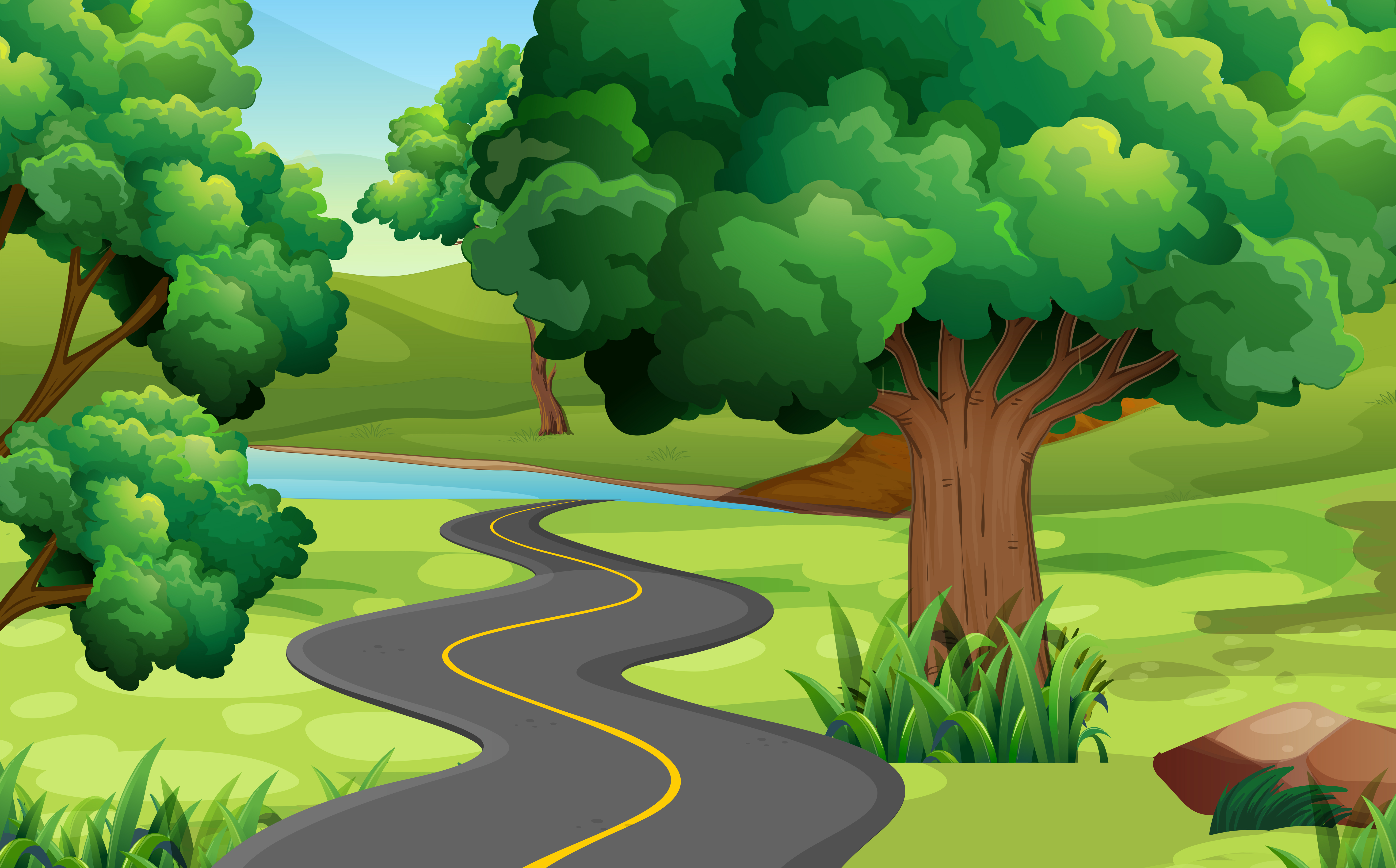 Картинка мультяшная лес с дорогой