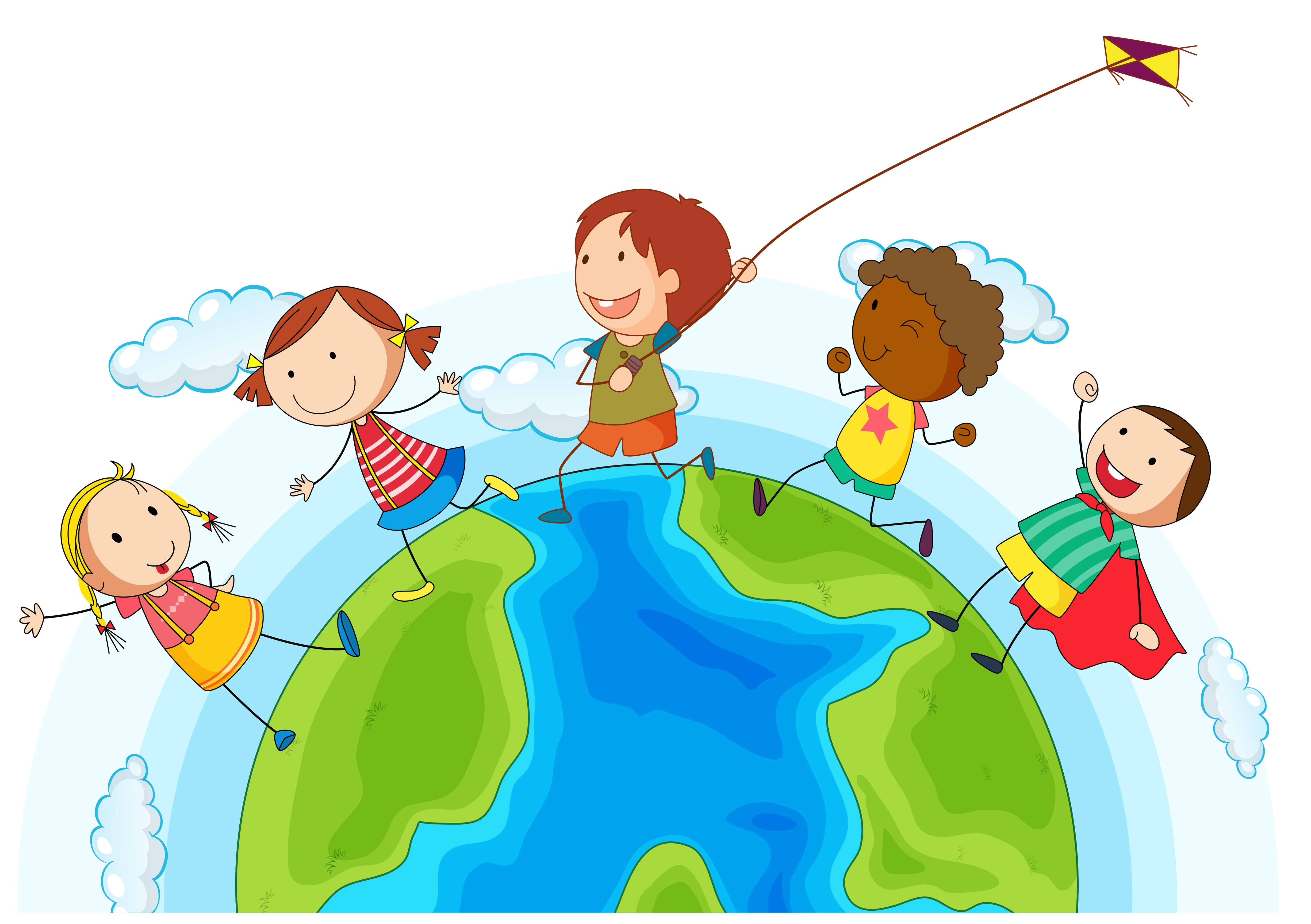 Kids running around the world - Download Free Vectors ...