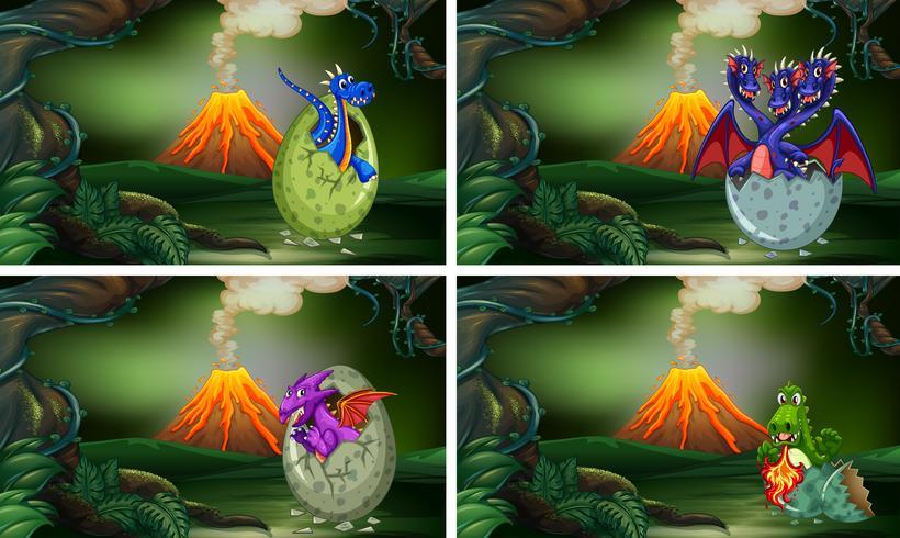 Vier Drachen, die Eier im Wald ausbrüten