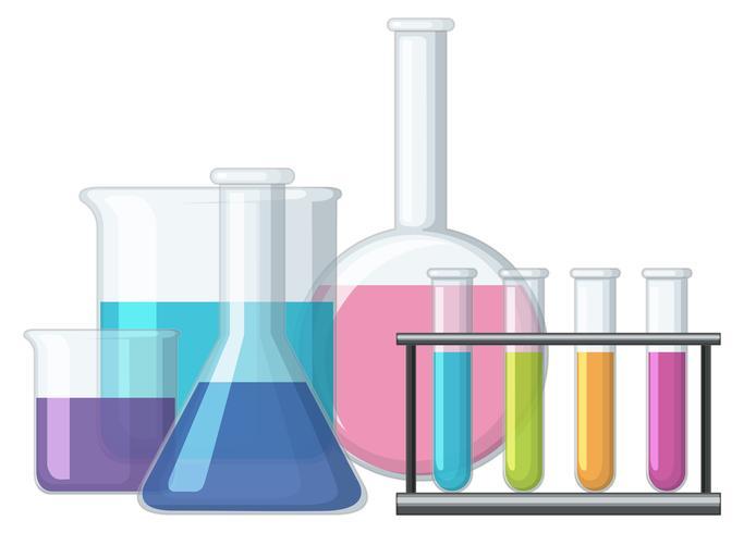 Sciene bekers gevuld met chemicaliën
