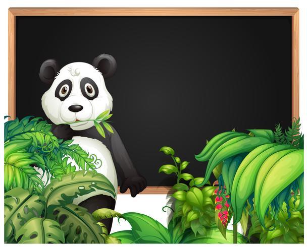 Modello di bordo con panda nei boschi