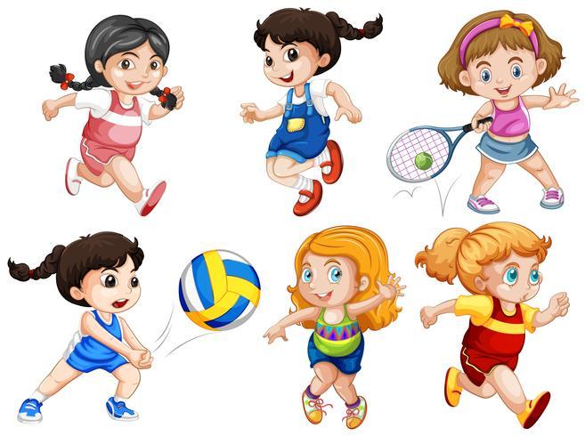 Set van actieve meisjes