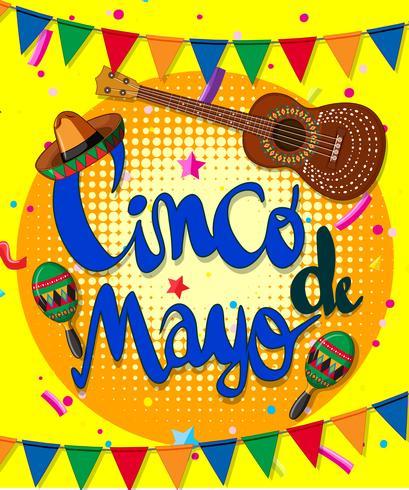 Cinco de mayo design di poster con chitarra e bandiere