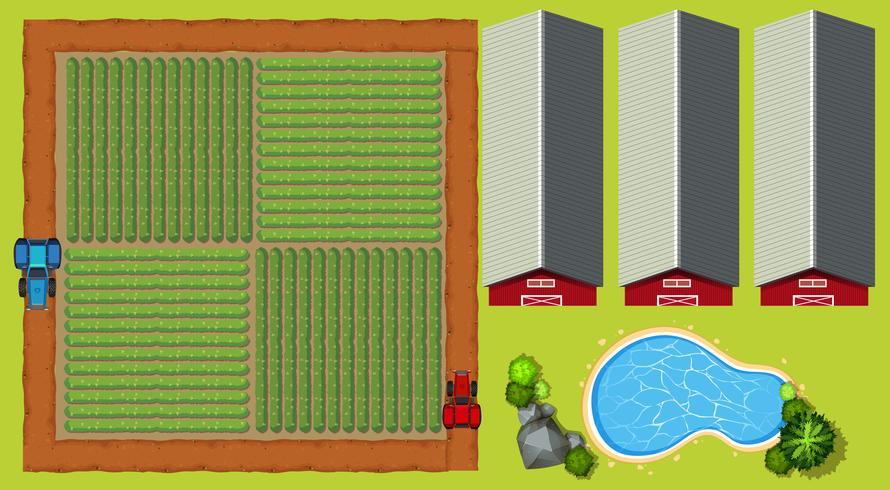 Cena aérea, com, terra cultivada, e, celeiros