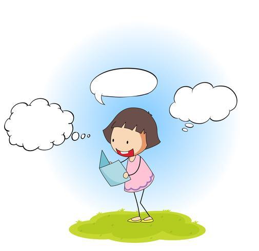 Gelukkig meisje rwading boek met spraakballon