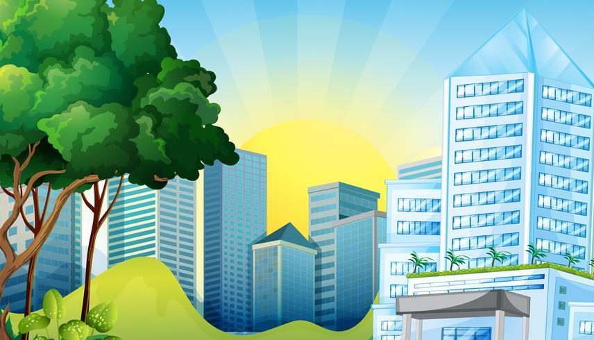 Scène de ville avec de grands immeubles