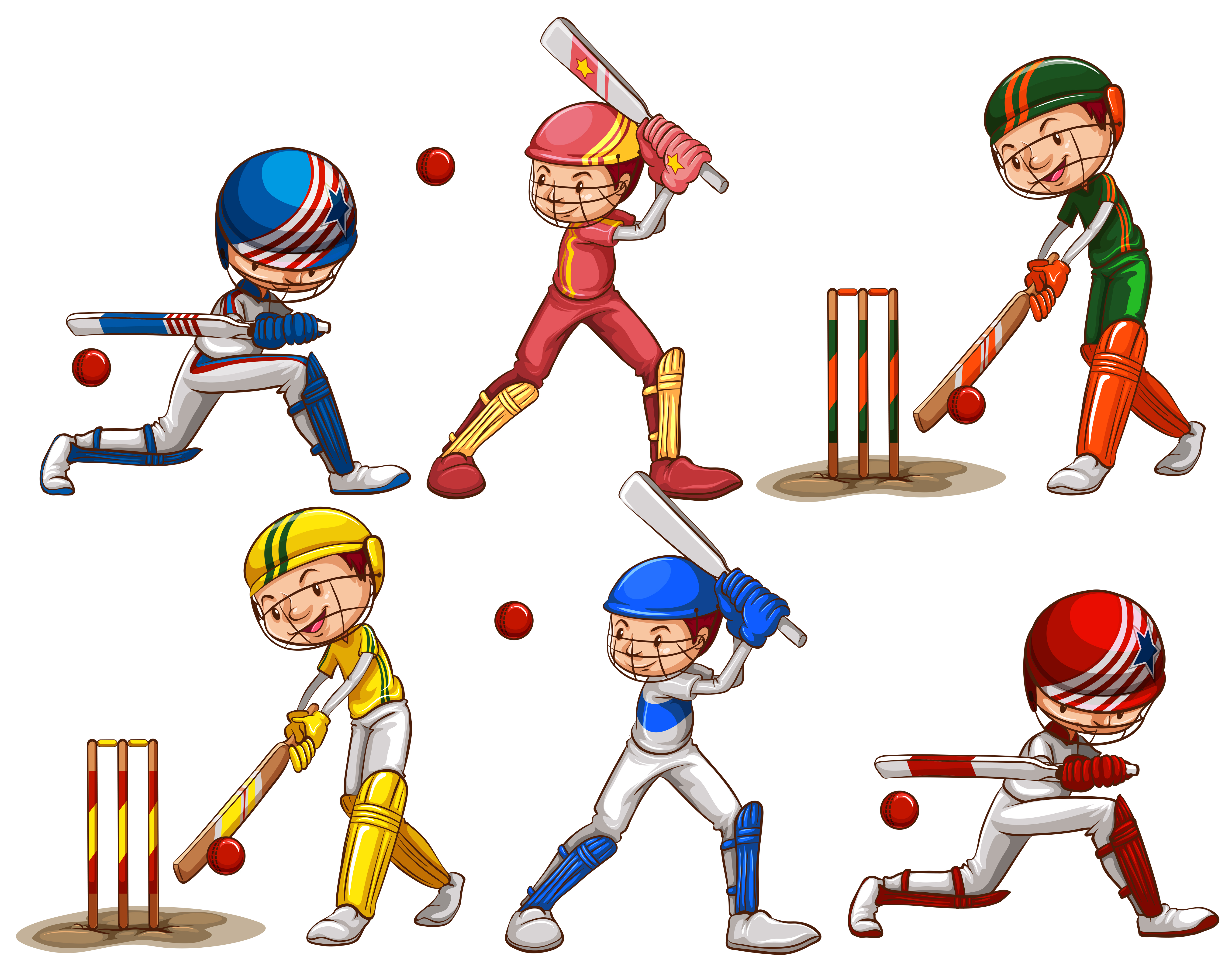 People playing cricket - Download Free Vectors, Clipart ...