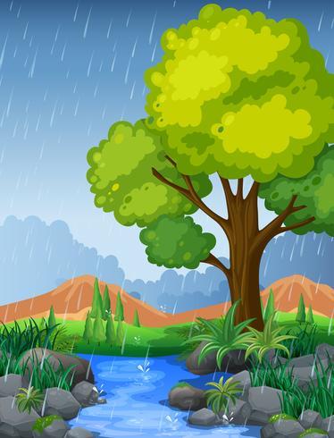 Park scen under regnperioden vektor