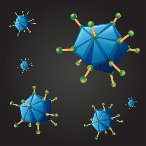 Fond transparent avec le virus bleu