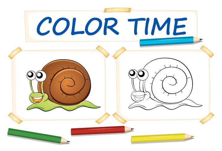 Modelo de coloração com caracol fofo