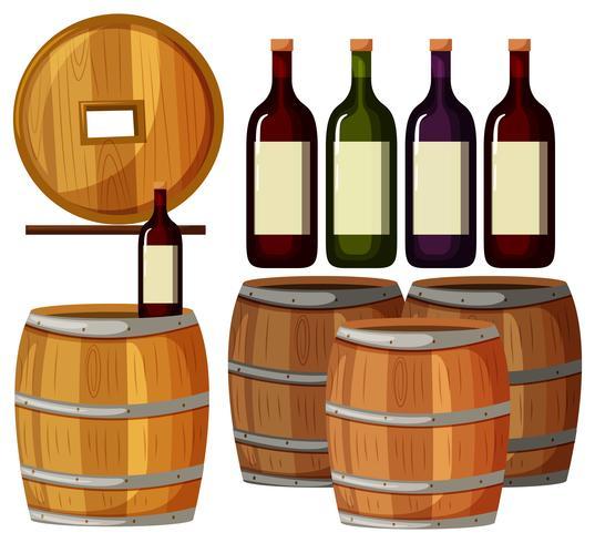 Garrafas de vinho e barris de madeira