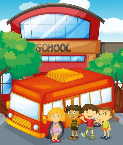 Crianças, ficar, por, schoolbus, em, escola