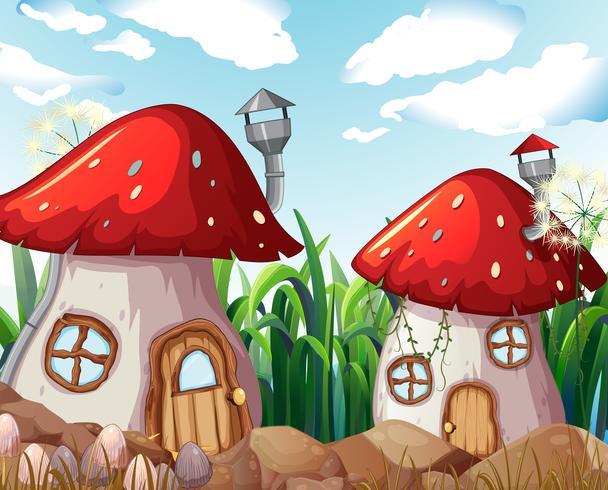 Casa de setas encantada en la naturaleza