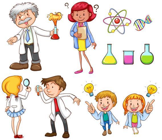 Personas haciendo diferentes actividades científicas.