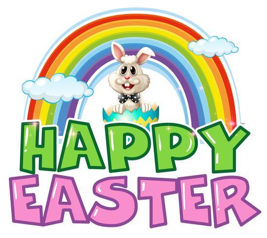 Gelukkige Pasen-affiche met konijntje en regenboog