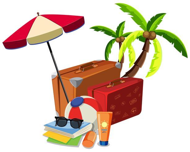 Beach summer travel object vector