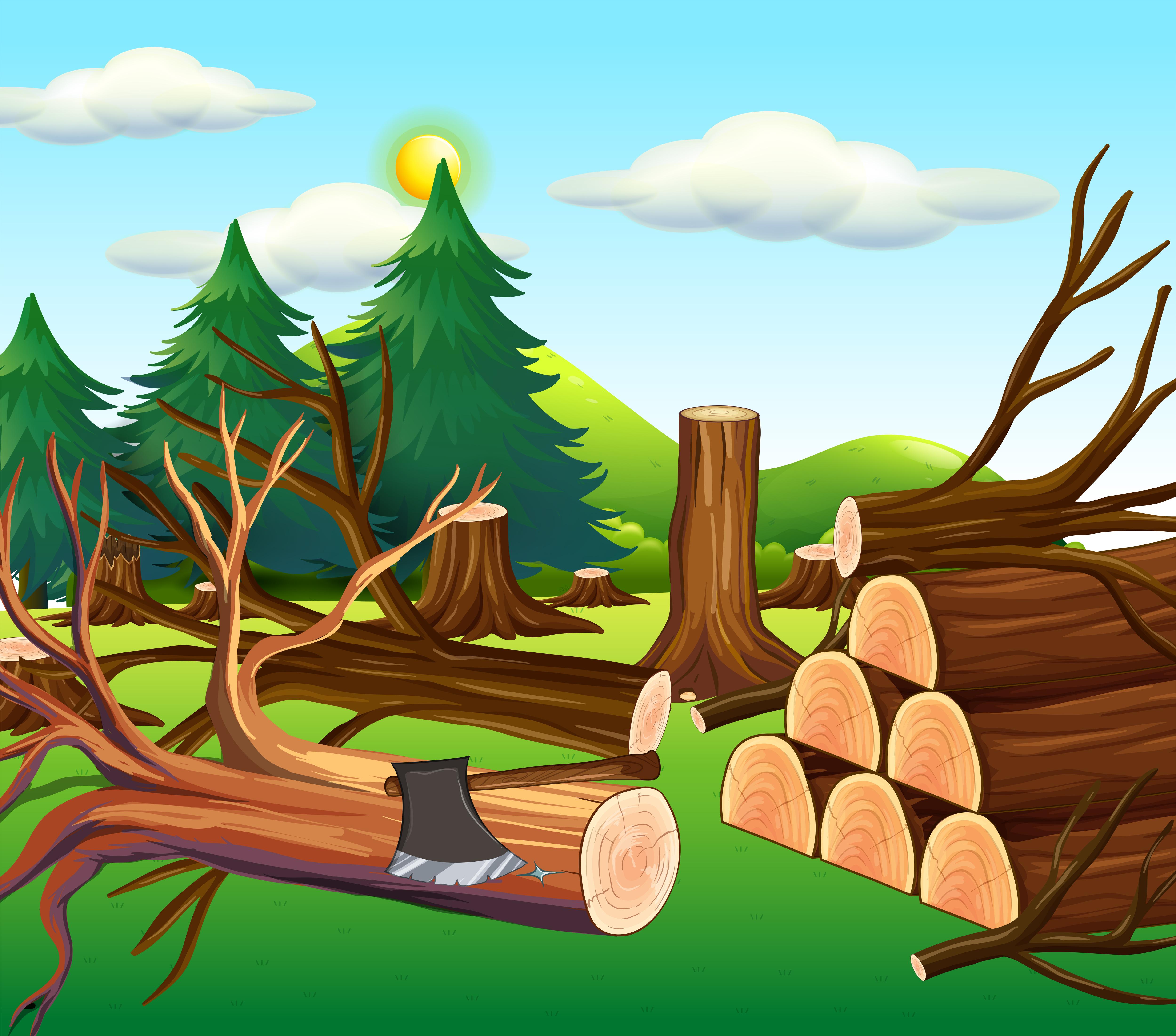 Escena de deforestación con maderas cortadas Descargar
