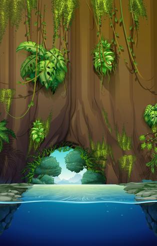 Cueva sobre el agua vector
