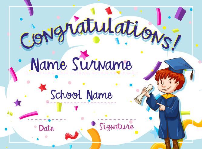 Certificaatsjabloon met kind in afstuderen jurk